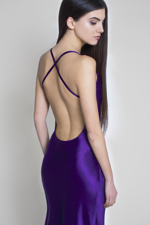 PURPLE SILK SLIP DRESS   Valerievi Milano
